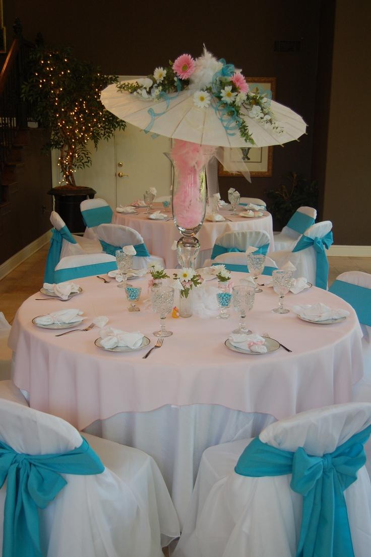 Decorated umbrella for shower bridal shower theme ideas for Baby shower umbrella decoration ideas