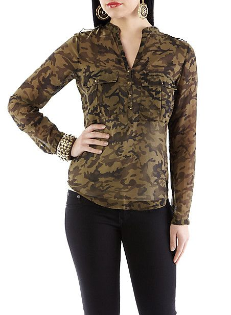 Sheer Camouflage Blouse 113
