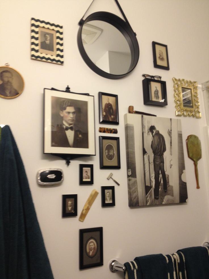 Modern vintage hipster mens grooming bathroom decor for Mens bathroom designs