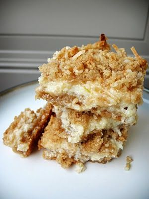 Lime and coconut crumble cookie bars | Extra Calories | Pinterest