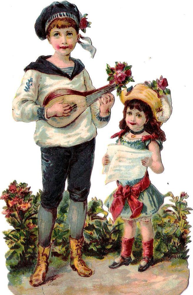 Glanzbilder Victorian Die Cut Victorian Scrap Tube Victorienne