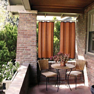 Outdoor bamboo curtain panels good indoors too