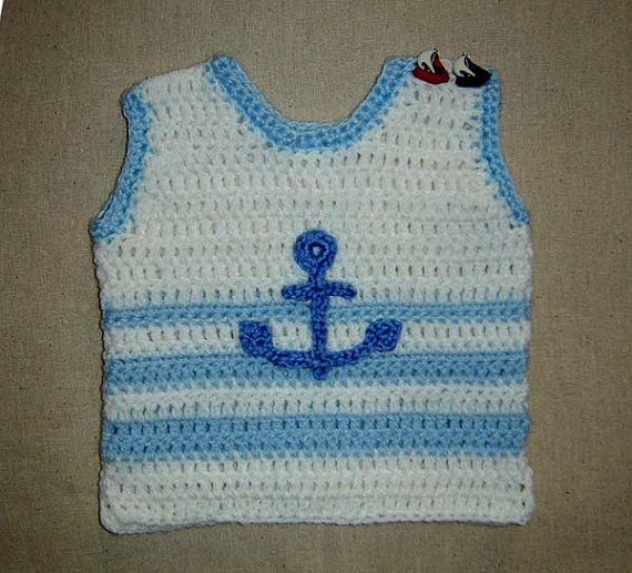 Little Baby Sailor Vest, Photo prop - Crochet Pattern