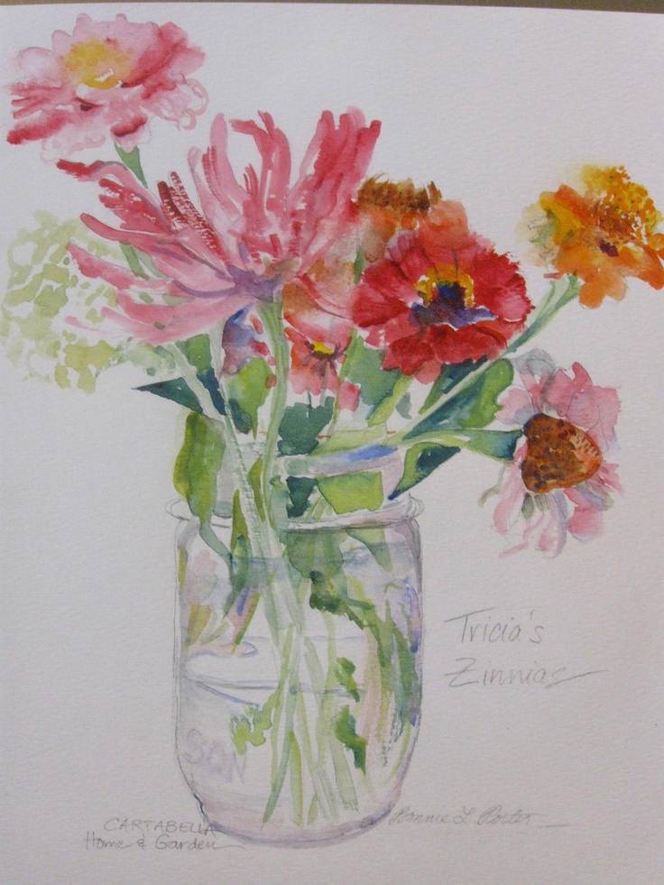 Zinnias in a mason jar original watercolor for Watercolor painting flowers