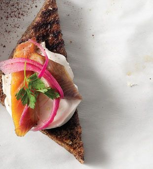 Smoked Trout, Crème Fraîche & Pickled Onion Crostini