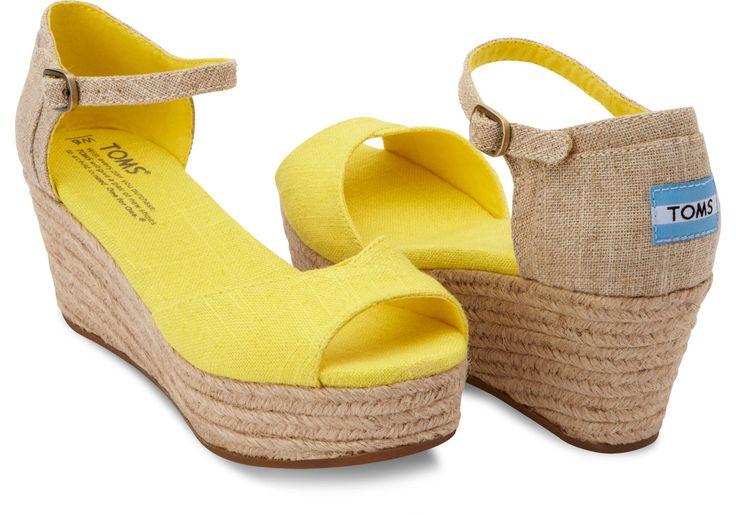 Yellow Linen Mix Vegan Women's Platform Wedges | TOMS #womens #shoes