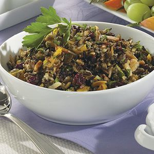 Wild Rice, Apricot, and Almond Salad (I used water, not chicken broth ...