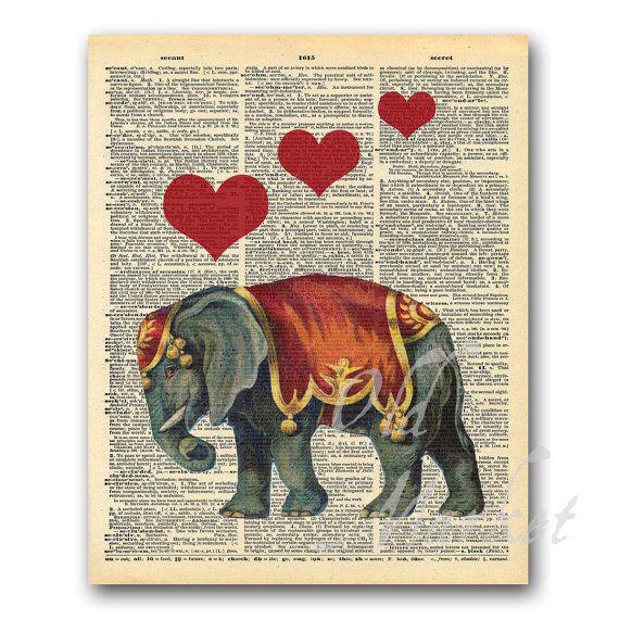 Elephant with Hearts Illustration on Vintage by OldMarket on EtsyVintage Elephant Illustration