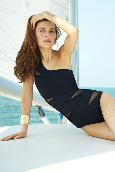 Black asymmetrical swim couture from Karla Colletto