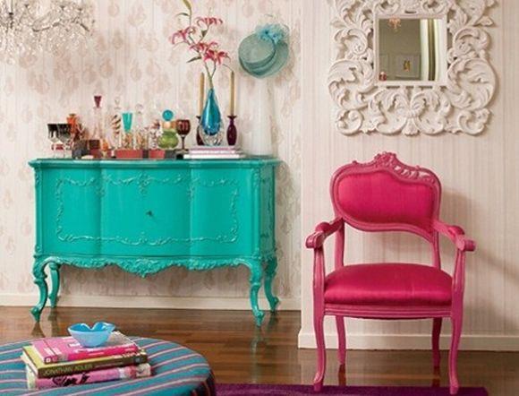 vintage! azul + branco + pink