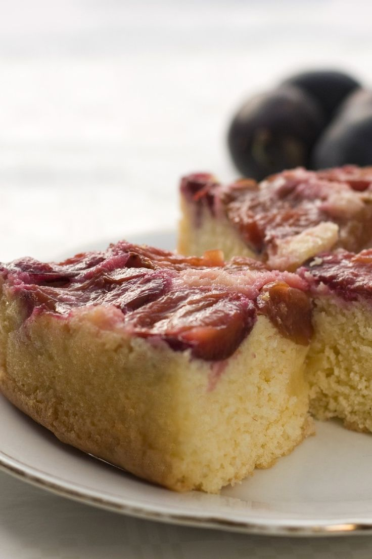 Plum Blueberry Upside Down Cake #Recipe #Dessert