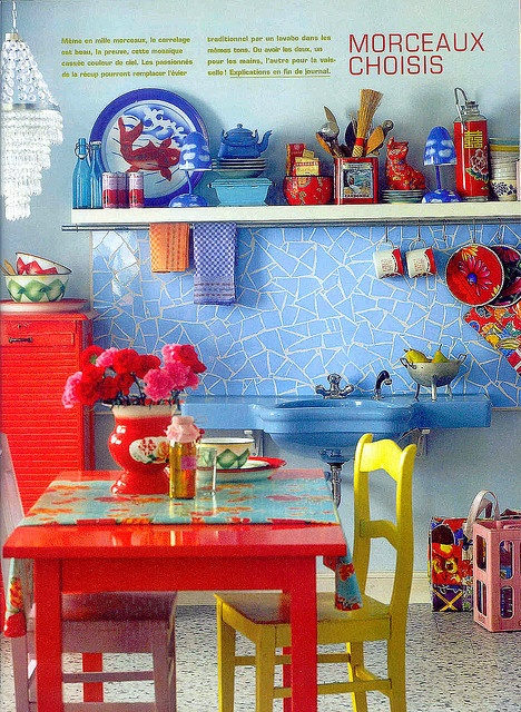 tile blue and red kitchen  I like the pop of yellow with the chair