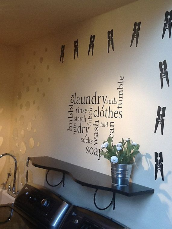 Laundry Room Wall Decor Stickers : Clothespin decal laundry decor vinyl wall art stickers