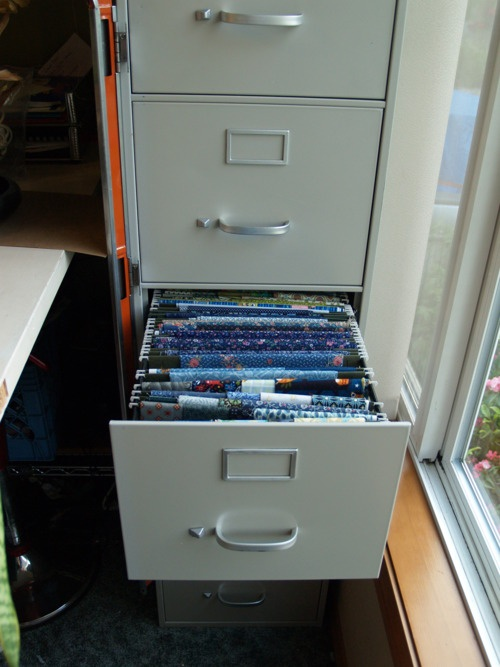 Oregon Department of Ideas • Today's Idea: Filing Cabinet Fabric Storage--this is a cool idea for fat quarters!