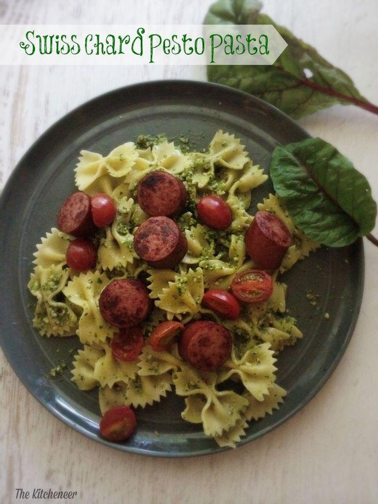 Swiss Chard Pesto Pasta | http://www.thekitcheneer.com/2014/08/06 ...