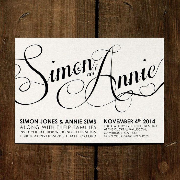 Personalised Modern Script Wedding Invitation - Day Evening RSVP Call ...: pinterest.com/pin/453245149971245221
