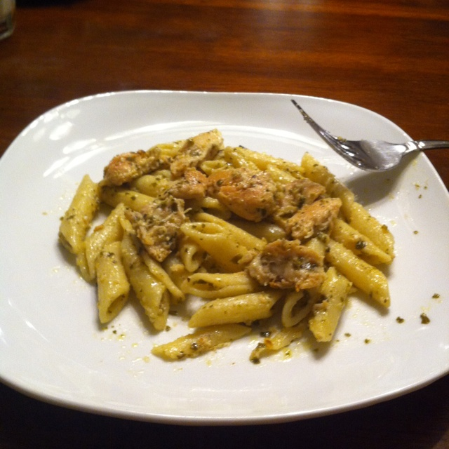 Basil pesto chicken penne :) Pesto has become my new favorite thing