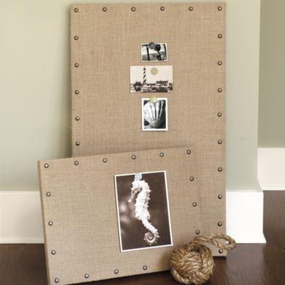 Burlap Message Board - 15 X 20 | Wall Decor | Ballard Designs - burlap + corkboard + nail heads....