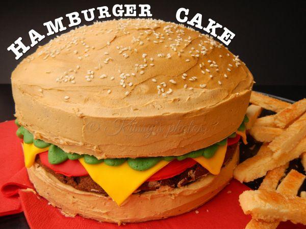 hamburger cake for Cristians birthday!!  Cakes!  Pinterest