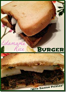 Gluten Free Edamame Rice Burger with Daikon Pickles