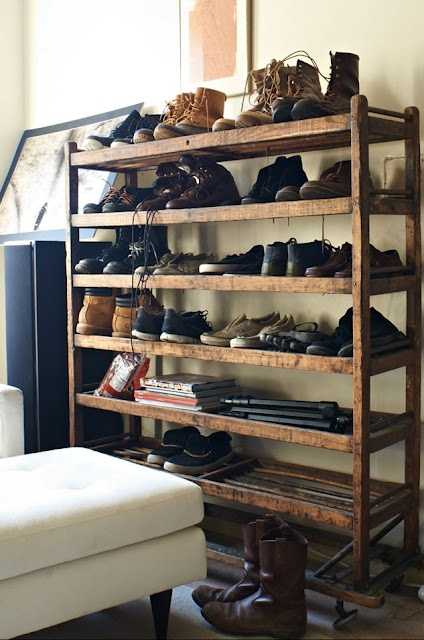 shoe shelf, could use trays from lolly factory