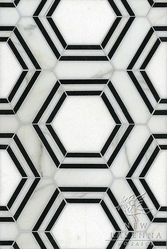 Lyxig art decó känsla på dessa sexkantiga marmorplattor som skulle vara fantastiska i en stor entré.