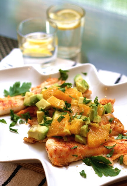 pan-fried fish with avocado orange salsa