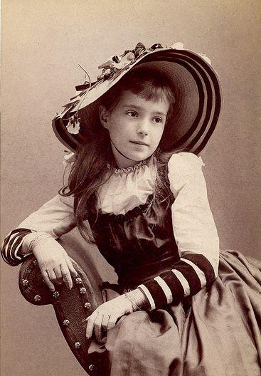 Beautiful hat on girl named Ethel. Cincinnati, Ohio 1891