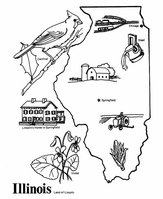 Illinois State Outline Coloring Page Camping Pinterest