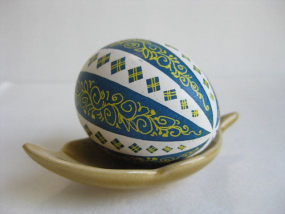 Teal Blue And White Pysanka Egg Ukrainian Easter Egg