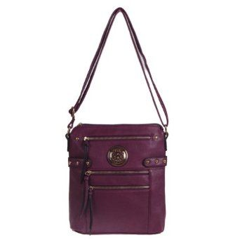 Zippered Cross-body Handbag (Purple) - Price: 29.95