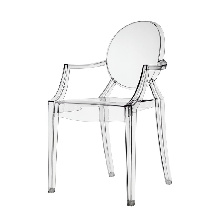 Kids philippe starck style ghost arm chair clear
