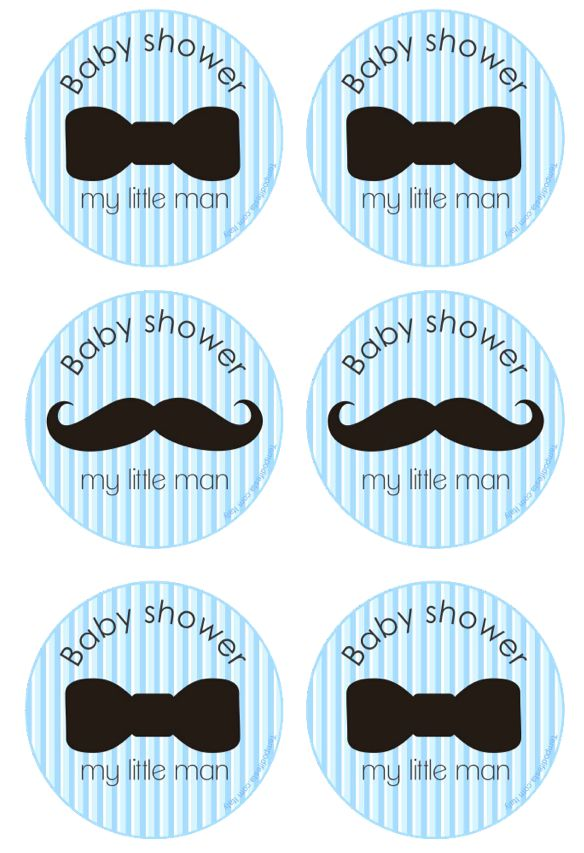 little man baby shower free printable cupcake toppers
