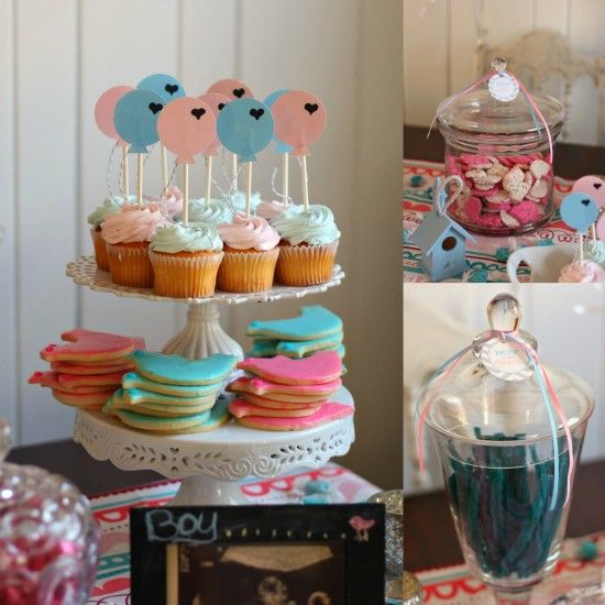 Pink and blue sweets for a gender reveal party.