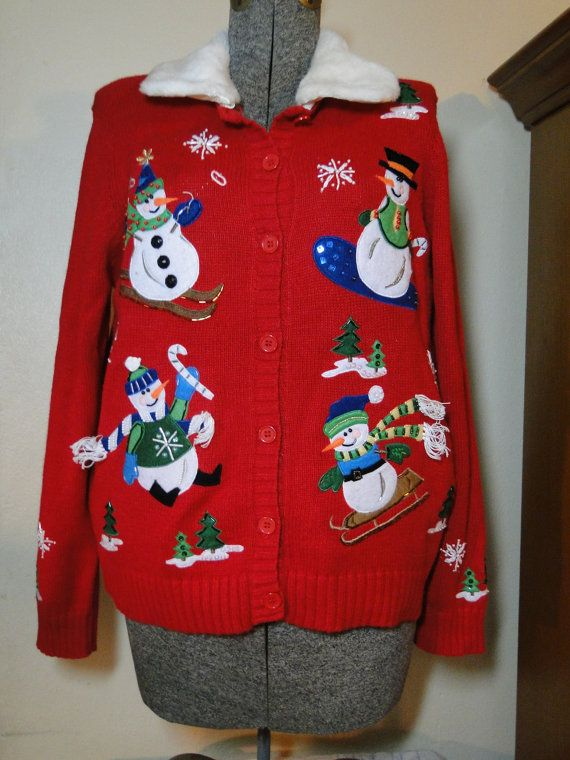 Ugly Christmas Sweater Cardigan Cheap Jumper by ABetterSweaterShop, $ ...
