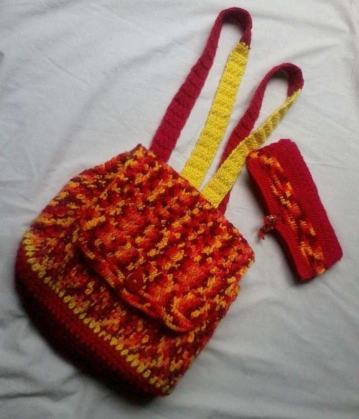 Crochet Book Bag : crochet backpack and matching wallet Crochet Backpacks & Book Bags ...