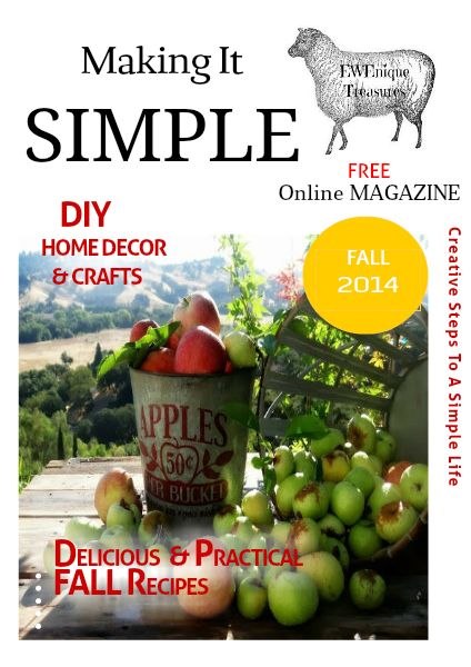 Creative Steps to a Simple Life is a Free Online Magazine that showcases Bloggers Recipes, DIYs, Home Decor.Lifestyles and more you can visit live websites from the magazine of all the bloggers who co
