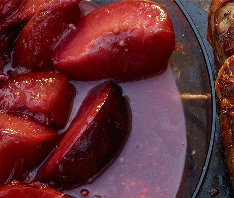 Peach Melba with Burnt Caramel Sauce Recipe at Epicurious.com