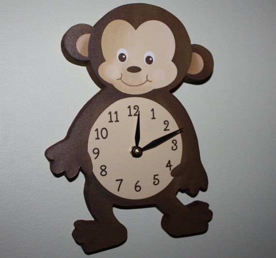 Monkey Wooden WALL CLOCK for Kids Bedroom Baby by ToadAndLily, $45.00 kid-rooms