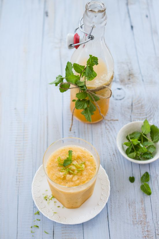 Cantaloupe, Lime and Mint Slushy | kippis! | Pinterest