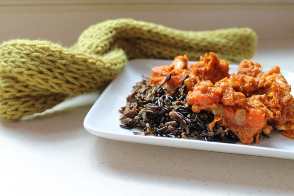 ... Carrots & Cauliflower with West African Peanut Sauce and Wild Rice