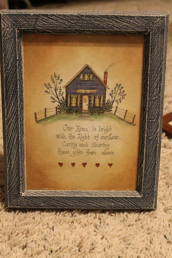 Blue Home FrameWall Decor Americana Crafts Folk Art