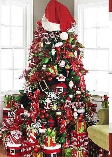 Site has TONS of Christmas trees and decorating ideas....and love the big santa hat and belt!!