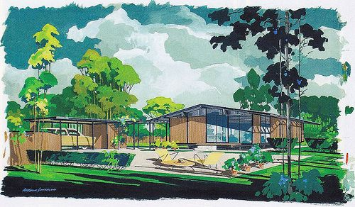 Cliff May Ranch House Rendering Mid Century Outdoors In