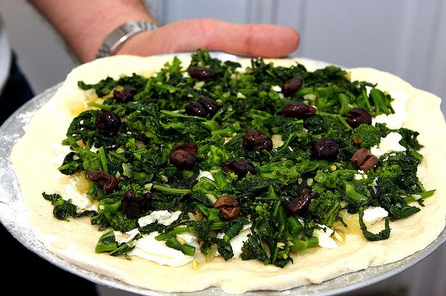 Pizza With Broccoli Rabe And Roasted Onions Recipe — Dishmaps