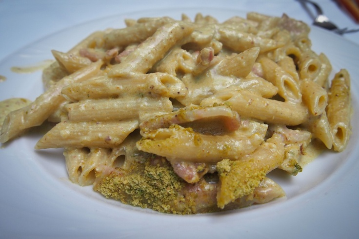 PENNE WITH PANCETTA AND PISTACHIO PESTO