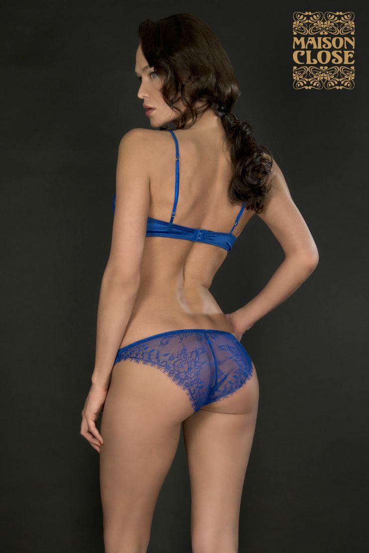 Lace panty by maison close electric blue satin lace - Maison close jardin imperial wire bra boulogne billancourt ...