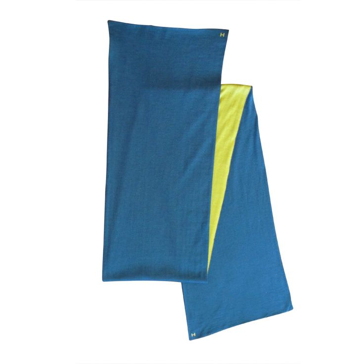 Hermes Blue and Chartreuse Silk & Cashmere Scarf $665. Direct purchase