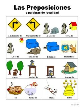 spanish prepositions picture notes set. Black Bedroom Furniture Sets. Home Design Ideas