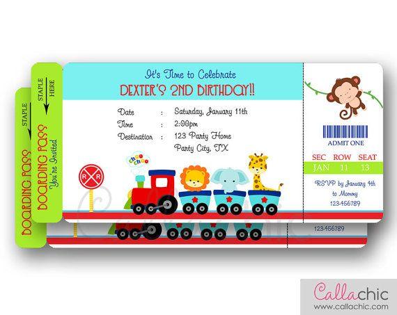 Zoo Animals Train Ticket Invitation PRINTABLE by CallaChic, $14.00